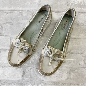 Perry top sider gray silver boat loafers sz 7.5 M